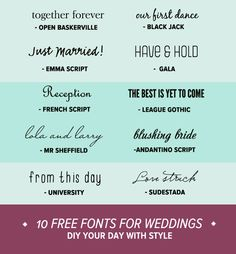 Design Inspiration: 10 Free Fonts for Weddings