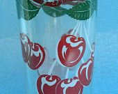 Vintage Hand Painted Cherries Drinking Glass