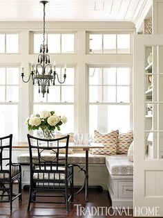 bench and windows with transoms | traditional home