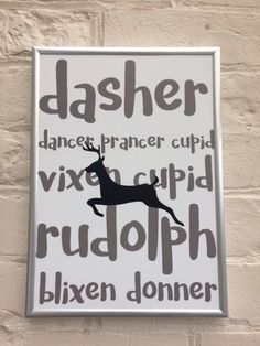 "Never forget the names of all the reindeer again! Printed on quality 350gsm paper, this A4 print will look great on your wall this holiday season. *please note this print is provided without a frame. It will be sent in a board back envelope to avoid bending in transit* Check out other designs here: https://www.etsy.com/uk/shop/NSquaredUK?ref=hdr ""But Perfection never appealed to me. Its the beauty and honesty behind imperfections, that I fall in love with."" ― Wordions"