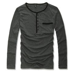 Mens Casual Slim Stylish Uyuk color block wrapping 6 buckle t 100% cotton male casual long-sleeve T-shirt