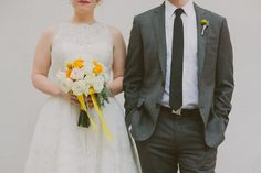 Retro Chic Grey and Yellow Garden Wedding   With Love & Embers