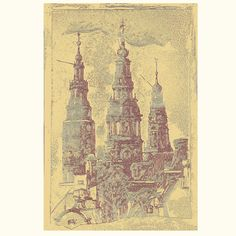Centuries old towers in Amsterdam. Giclee. 323.