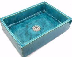 Turchese lavello lavabo a mano da piano lavabo di Dekornia su Etsy