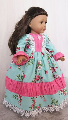 Pink and Aqua Gown  18 American Doll Dress
