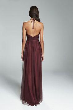 ASTRID. Deep V neckline cumberbund waist bridesmaids dress shown in Ruby. Available in 27 colors.