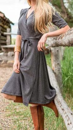 heather grey wrap dress - so cute with brown boots