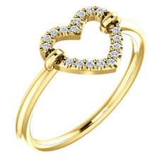 Diamond Open Heart Ring in 14K Yellow, White or Rose Gold  #Unbranded #Band #AnyOccasion