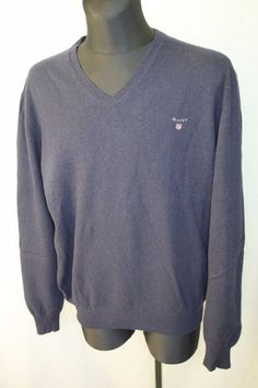 GANT Men's V Neck Navy 100% Geelong Lambswool Jumper Sweater, Size 3XL #Gant #Jumpers