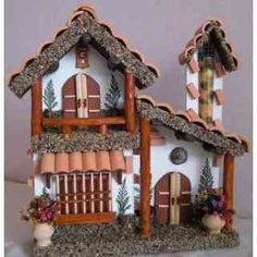 Balcones antioqueños minituras Dollhouse Kits, Dollhouse Miniatures, Wood Crafts, Diy And Crafts, Summer Crafts For Kids, Marianne Design, Miniature Houses, Diy Clay, Little Houses