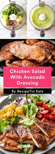 5. Chicken Salad With Avocado Dressing #healthy #chicken #recipes http://greatist.com/eat/easy-chicken-recipes-that-are-tasty-af