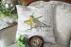 """French Pillow Slip Cover French Script Canvas and Burlap Pillow Slip """"Warblers"""" by Gathered Comforts on Etsy, $32.00"""