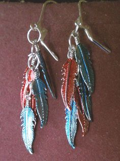 Pretty Enameled Red and Blue Feather Lever Back Earrings   eBay