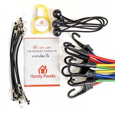 Bungee Cord Set by HandyPanda ~ 24 Piece Cord Assortment ~ Strong Coated Hooks, Bungees with Balls and Mini Bungee Cords ~ Convenient Plastic Case Packaging ~ Free Gift Inside ~ 100% Guarantee - Secure your valuables or hold anything in place – in your Garage or Garden, on a Bike or Motorcycle, on your Trip or Camping. When that cute little box from Amazon will be shipped to your door be ready to check its quality and test it for yourself. – We use high quality ny