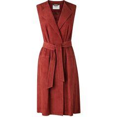 L.K. Bennett Riley Suede Longline Waistcoat ($790) ❤ liked on Polyvore featuring outerwear, vests, suede leather vest, suede vest, red vest, red waistcoat and longline vest