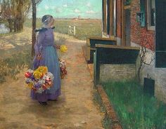 George Hitchcock (American painter, 1850-1913) Flowergirl -went to Holland to paint,,,