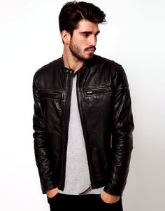 mens slim leather jacket http://www.menfashionhub.com/