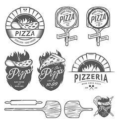 Vintage wood fire pizzeria labels badges design elements vector by ivanbaranov on VectorStock® Pizza Logo, Ma Pizza, Pizza Branding, Pizza Art, Fire Pizza, Design Menu Pizza, Design Pizzeria, Restaurant Logo, Pizza Restaurant