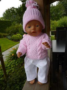 Wintertruitje, mutsje en broekje voor Baby Born 43 cm Patroon De Breikraam