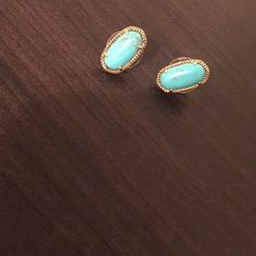 "Turquoise and gold oval studs Kendra Scott inspired turquoise and gold tone oval studs. About 1/2"" long. Jewelry Earrings"