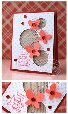 Sending Warm Wishes—Cling Dots (background image on white card stock), Friends Definition (butterflies), Garden Borders ( background on Kraft card stock)