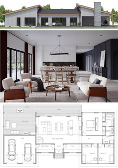 House plans home plans house designs houseplans homeplans adhouseplans dwell archdaily archilovers New House Plans, Dream House Plans, Modern House Plans, Small House Plans, Modern House Design, Modern Floor Plans, Architectural Design House Plans, Three Bedroom House Plan, Home Design Plans
