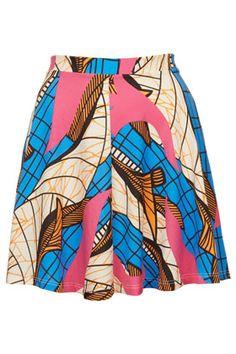 African Print Skater Skirt - Skirts  - Clothing