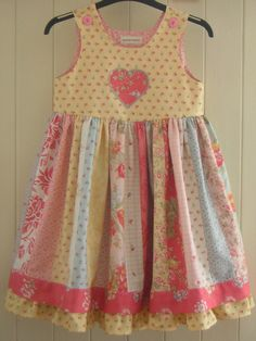 Pinafore dress age 5 with patchwork and embroidered applique OOAK. Ready to ship
