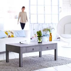 Table basse en bois de mindi gris Miro 100x60 prix Table Basse 3 Suisses 348.50 €