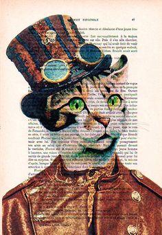 Steampunk Cat Art Print Art Giclee Print Acrylic by Cocodeparis, $9.00