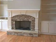 Stone fireplace and built in book shelves