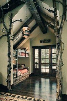 Lodge bedroom with bunk beds and interior tree decoration. Lodge Bedroom, Forest Bedroom, Woodsy Bedroom, Rustic Bedrooms, Bedroom Retreat, Sweet Home, Home And Deco, Design Case, My New Room