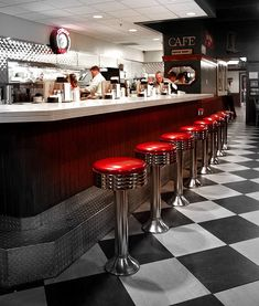 1950s style American diners-many a ice cream soda was consumed by yours truly on stools like these!