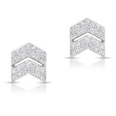 Anne Sisteron  14KT White Gold Diamond Double Maverick Chevron Diamond... ($495) ❤ liked on Polyvore featuring jewelry, earrings, white, diamond jewellery, diamond jewelry, diamond stud earrings, stud earrings and chevron jewelry