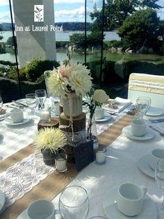 burlap & lace wedding table scape