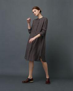 Collarless foulard dress   Toast