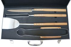 Laguiole by Louis Thiers artisan 4-piece barbecue set with bamboo handles | hardtofind.