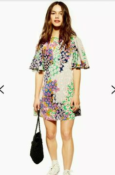 14cc858a38 Topshop Petite Austin Floral Print Angel Sleeve MINI short Dress size 10  bnwt #fashion #