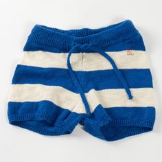 Bobo Choses Knitted Shorts In Blue Stripes | Scandi Mini 6/7