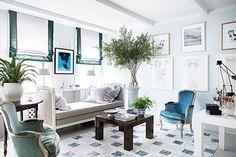 Banded Roman Shades  South Shore Decorating Blog: Artist Hayley Sarno's Manhattan Apartment Makeover