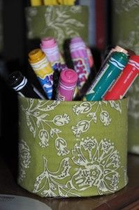 Cover a can in your favorite fabric for a stylish way to organize kid craft supplies.