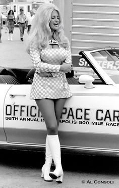 """Linda Vaugh. """"The Hurst Shifting girl."""" (Indianapolis 500 1971.) perrisautospeedwa... #autospeedway #speedway #attractions"""