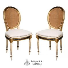Louis XVI style painted and gilt chairs made in Italy about 1920