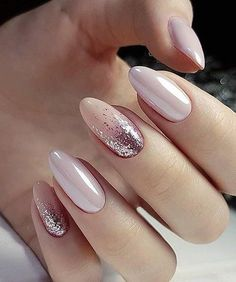 Rose gold glitter nail polish ideas #nails #nail