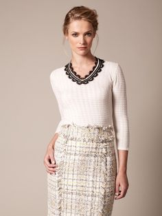 Carolina Herrera Silk Cashmere Lace Trim Sweater