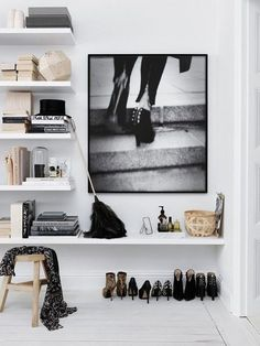 floating shelves, shoe art, shoe storage, closet, small space, shelving ideas for bedroom