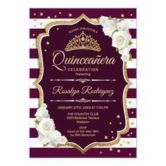 Quinceanera - Gold Burgundy Invitation #Ad , #Advertisement, #Burgundy#Invitation#created#Shop Wedding Reception Invitations, Sunflower Wedding Invitations, Burgundy Wedding Invitations, Affordable Wedding Invitations, Quinceanera Invitations, Burgundy And Gold, White Roses, Fall Wedding, Wedding Ideas