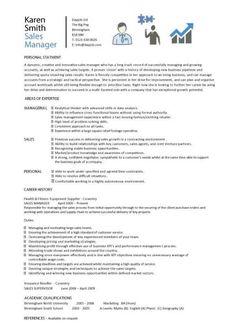 Sales Manager CV Example, Free CV Template, Sales Management Jobs, Sales Cv,