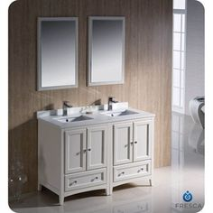 Fresca Oxford 48 Traditional Double Sink Bathroom Vanity - Antique White - Double Vanity for small space