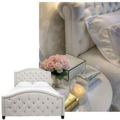 Unique White Fabric Tufted Headboard With Cute White Pillows And ...